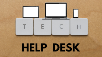 Tech Help Desk with a picture of a laptop, tablet and smart phone