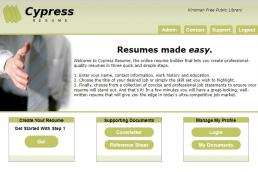 Screenshot of the welcome portal of Cypres Resume