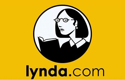 Lynda.com logo yellow background with black and white clipart of a woman reading a book in a circle in the center