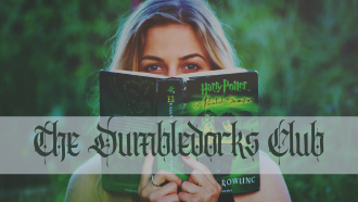 "Photo of a woman reading a Harry Potter book with the text ""The Dumbledorks Club"""