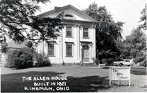 "Black and White Photo of Allen House with text ""The Allen House built in 1821"""