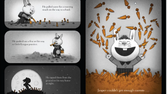 Screenshot of the virtual storytime of Creepy Carrots by Aaron Reynolds