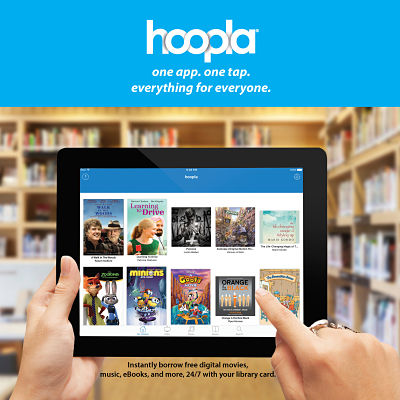 "text, ""hoopla. One app. One tap. Everything for everyone."""