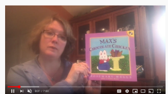 Screenshot of virtual storytime of Max's Chocolate Chicken by Rosemary Wells