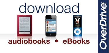 "Text ""Download audiobooks, ebooks and more"" with pictures of a kindle, smartphone and iPod"
