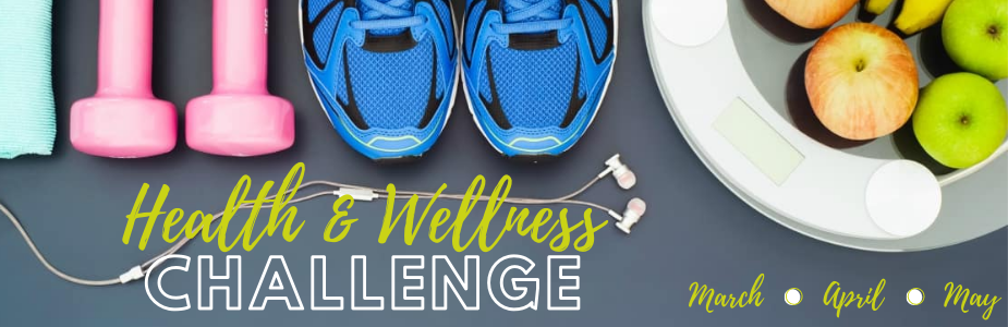 "dumbells, sneakers, and a bowl of fruit with text ""Health & Wellness Challenge"""